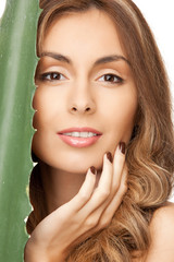 lovely woman with aloe vera