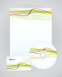 Vector template for business artworks: folder, business card and