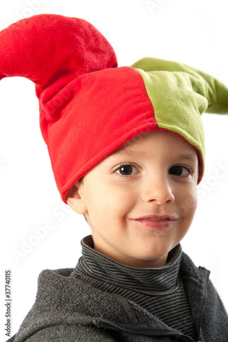 Child with minstrel mask isolated on white background.