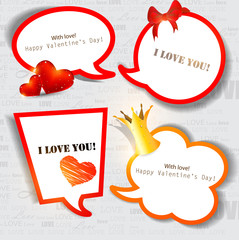 Colorful paper bubble for speech. Valentines day. Vector backgro