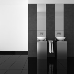 modern bathroom with double basin and black floor