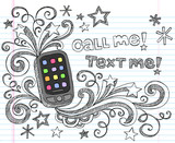 Smartphone Cell Phone Sketchy Doodles Vector poster