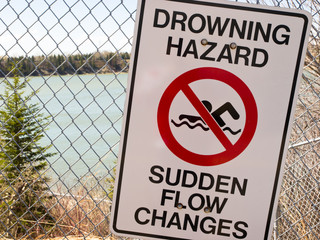 No Swiming / Drowning Area Sign