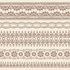 Henna Mehndi Tattoo Paisley Vector Border Designs