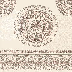 Hand-Drawn Henna Tattoo Flowers and Border Doodle Vector
