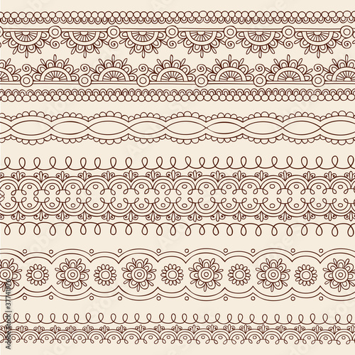 Henna Mehndi Tattoo Paisley Vector Border Designs
