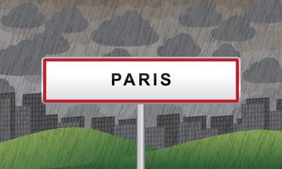 panneau ville paris pluie et nuages
