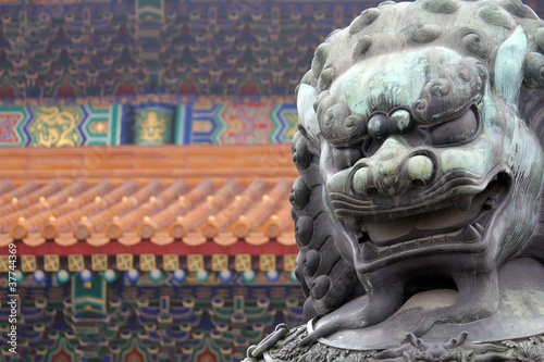 Stone Lion Statue - Forbidden City (right)