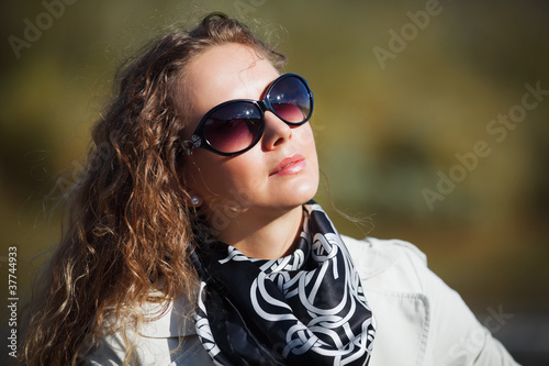 Woman against a nature background