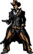 Cowboy Mascot Aiming Gun Vector Illustration