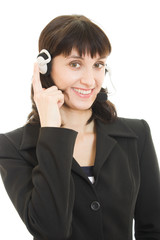 Young beautiful call center female operator portrait isolated