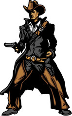 Cowboy Mascot Aiming Gun Vector Illustration