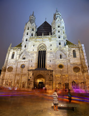 St. Stephen's Cathedral in night.  Vienna