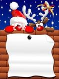 Fototapety Renna e Babbo Natale Auguri-Santa Claus and Reindeer Poster