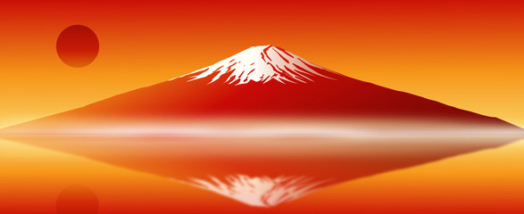 Red Fuji Mt. vector image