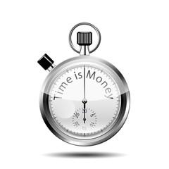 Icono cronometro 3D con texto Time is Money