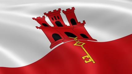 Gibraltarian flag in the wind
