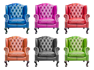 collection of luxury armchair isolated with clipping path