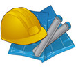 Construction icon symbol of hardhat and blue prints