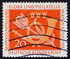Postage stamp Germany 1957 Tulip and Post Horn