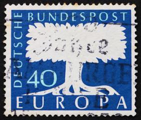 Postage stamp Germany 1957 Tree, United Europe
