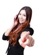 Young Business woman happy speaking mobile phone