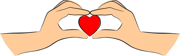 Hands is heart shape