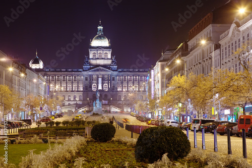 Wenceslas Square at night. Prague, Czechia