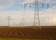 Power pylons in an agricultural Dutch landscape