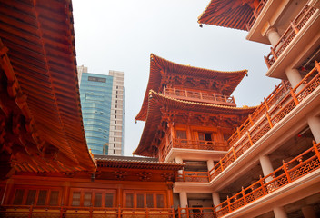 Wooden Buildings Hallsl Jing An Temple Shanghai China