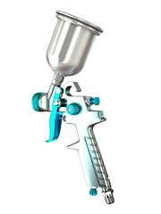 3D Illustration Spray Gun on White Background