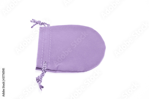 Purple pouch to hold Jewelry and delicate items isolated on whit