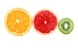 cuted fruit isolated on white background