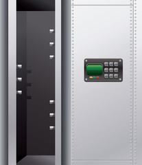 Illustration of a empty metal safe with digital lock.