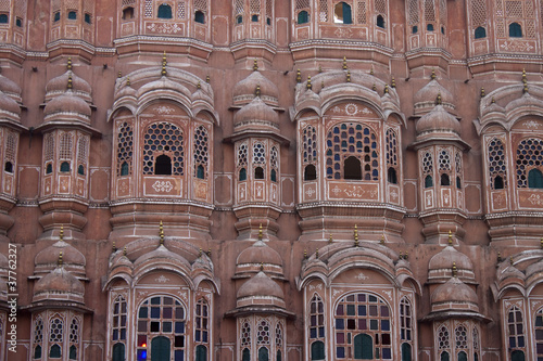 Detail of Hawa Mahal (Palace of the Winds) in Jaipur. India