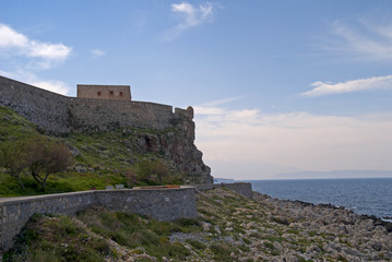 Venetian Fortress above harbour of Rethymno Crete Greece