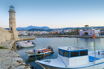 Sunset over the Venetian Harbour at Rethymno Crete Greece