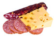Swiss cheese with holes of a salami and the Moscow sausage