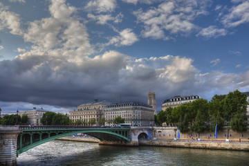 Picturesque Seine during sunset time, Paris.