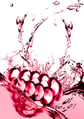 raspberry in water on a white background