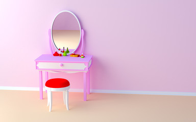 make up table at the wall