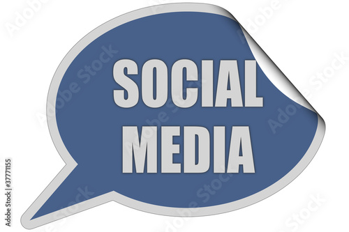 SP-Sticker blau curl oben SOCIAL MEDIA