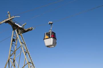 Cable car against blue sky