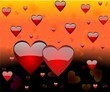 Background of enamoured hearts