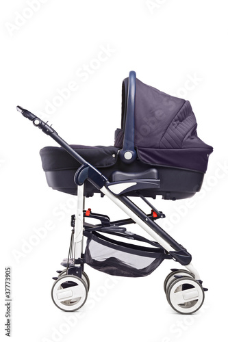 A studio shot of a baby stroller