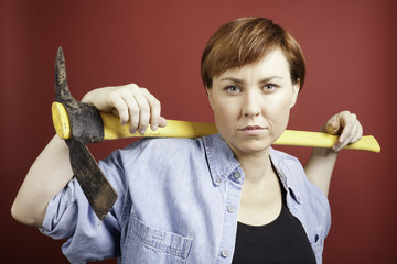 Woman with pickaxe