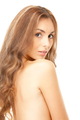 beautiful topless woman with long hair