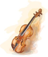 Violin. Vatercolor style.