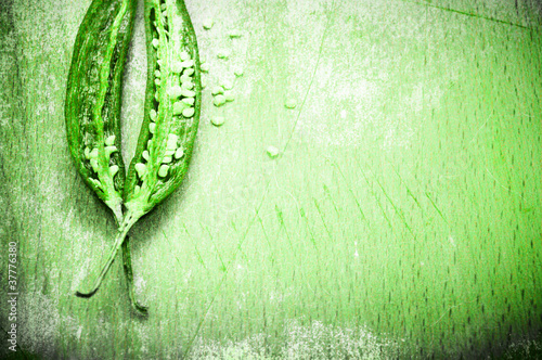 Peppers background in grunge green style