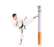 Karate man hitting a cigarette